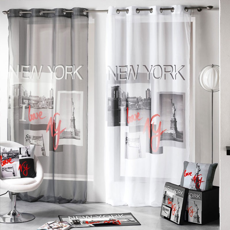 voilage 140x260cm i love new york gris. Black Bedroom Furniture Sets. Home Design Ideas
