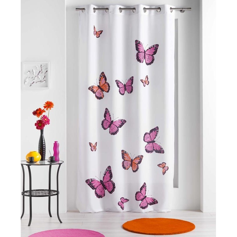 rideau papillons bella rose 140x240cm. Black Bedroom Furniture Sets. Home Design Ideas